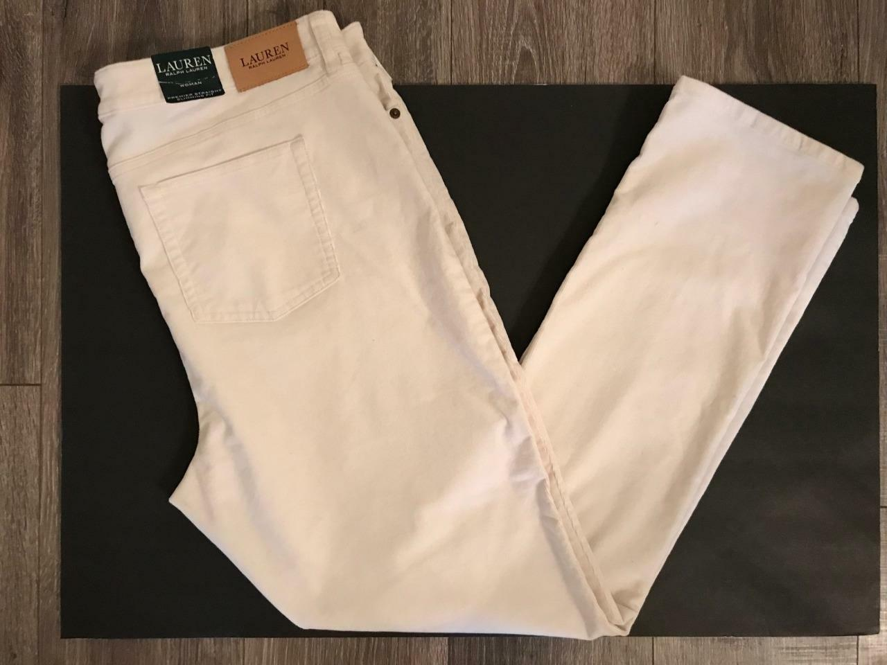Ralph Lauren Plus 22wX32 NWT  110 Ivory Cord Jean Straight Slimming Pant NEW