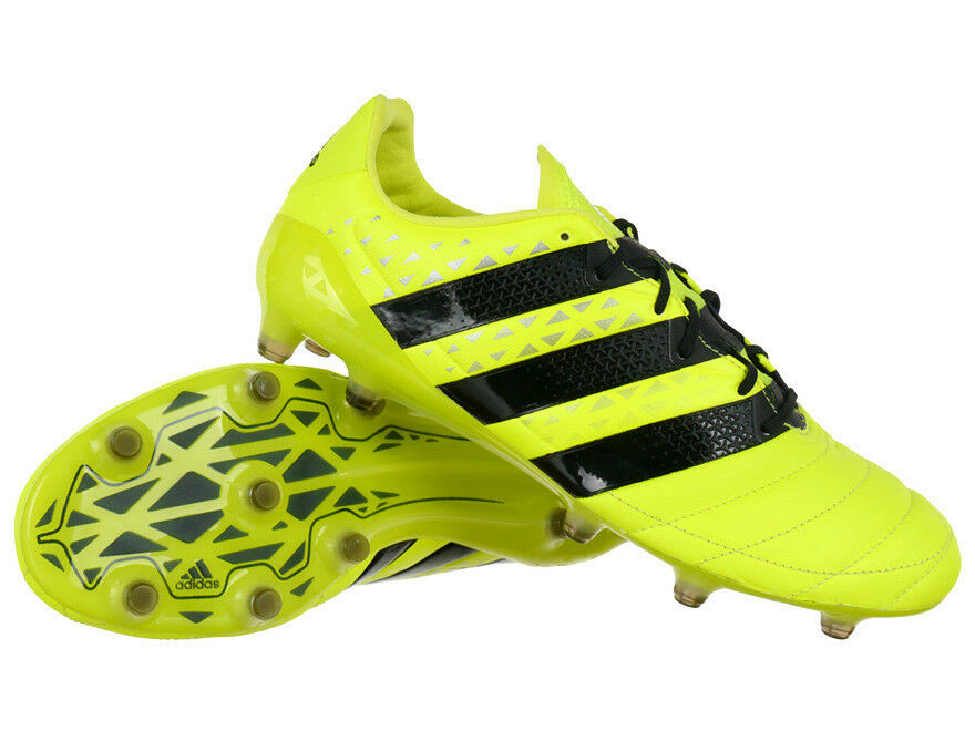 cheaper 6ff70 25a45 Adidas ACE 16.1 FG Leather Shoes Football Soccer Boots Yellow Black Pro  Model