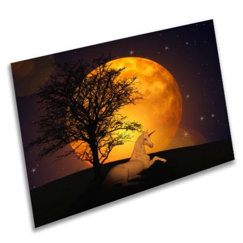 A1 A2 A3 A4 A5 Vintage Art Print Poster Unicorn Night Sky Moon