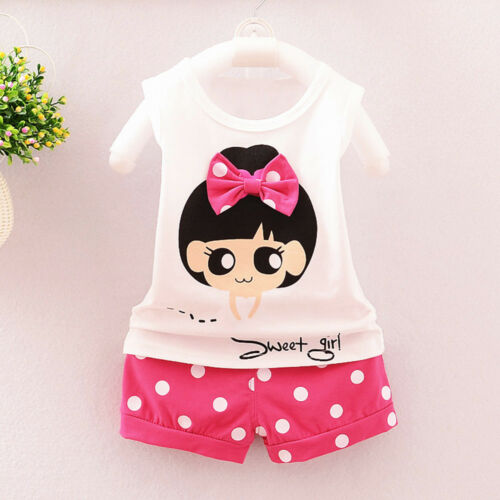 Toddler Baby Kids Girl T-Shirt Vest Tops+Shorts Pants 2PCS Casual Outfit Clothes