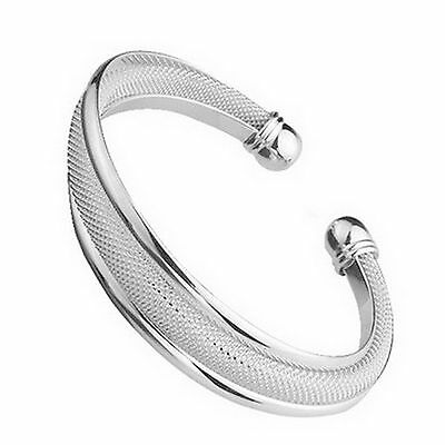 Women's 925  silver Plated  Filigree Mesh Cuff Bangle Bracelet Cuff Adjustable