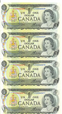 Bank of Canada 1973 $1 One Dollar 4 Consecutive Notes Crow-Bouey ECU AU+/UNC