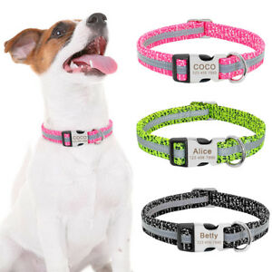 Reflective-Dog-Collar-Personalised-Metal-Buckle-Custom-Engraved-Free-Pet-ID-Name