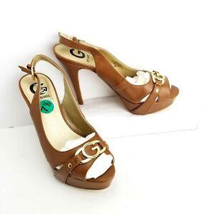 e37520a5920 G by Guess Slingback Platform Stiletto Heels Women Size 7.5 Brown ...