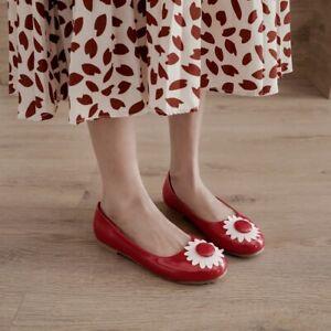 Loafers Womens Lady Flats Round Toe Flower Non-slip Ballet Sweet Comfort Shoe Sz