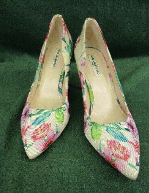 KARL LAGERFELD SZ 7 Floral KL pump pump pump 3  Heels Preowned Great Condition Gorgeous 261752