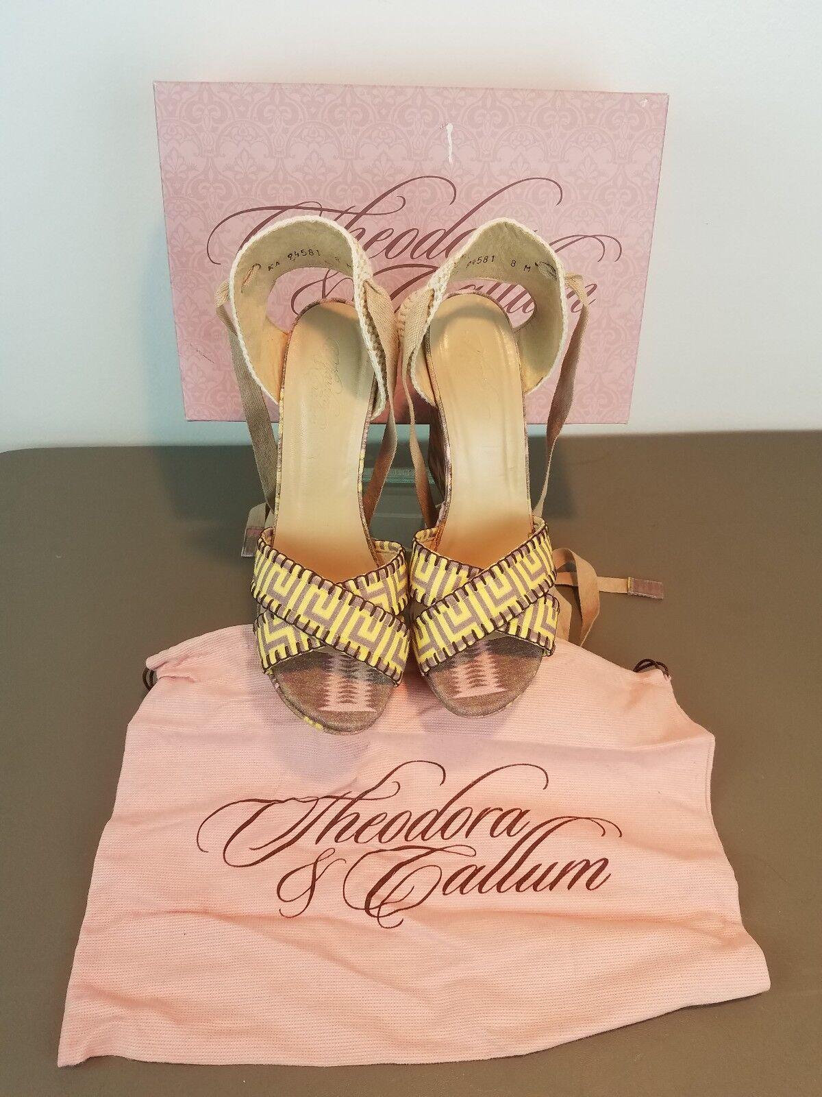 Theodora & Callum Biarritz Legume Maya Linen Strappy Heeled Sandals- Size 8M