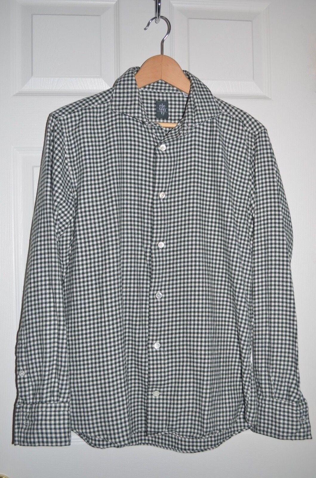 NEW ELEVENTY FIRST CLASS ITALY Flannel Plaid Grn CASUAL DRESS SHIRT SZ 15.75 40
