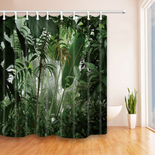 Tropical leaves Shower Curtain Home Bathroom Decor Fabric /& 12hooks 71*71inches