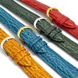 CLEARANCE-Shark-Grain-Padded-Leather-Watch-Strap-Free-Pins-16mm-18mm-20mm-C015