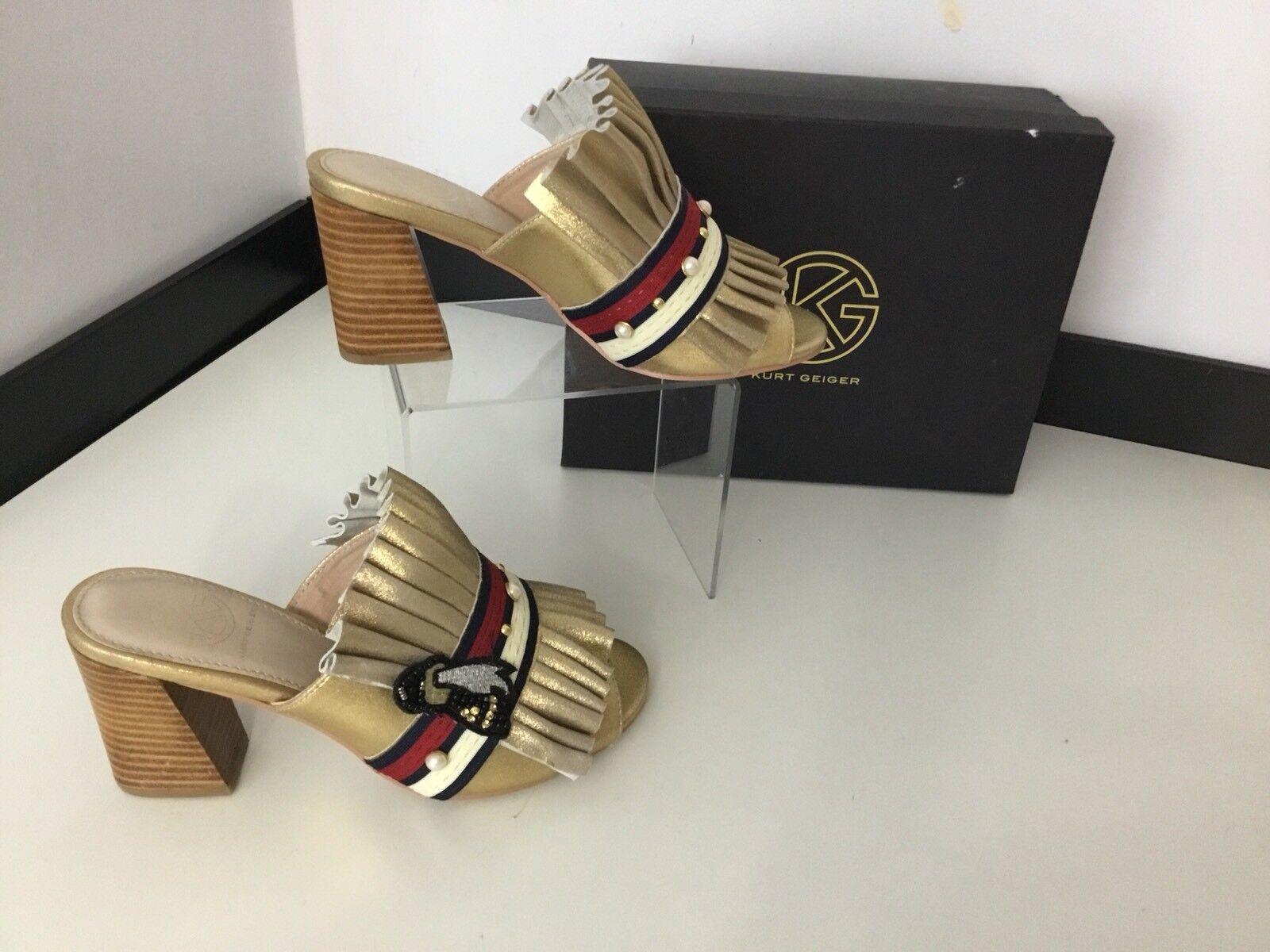 Kurt Geiger Kyfer Ladies Mules, Uk 4 Eu37, gold Fridged. New, Bnwob shoes