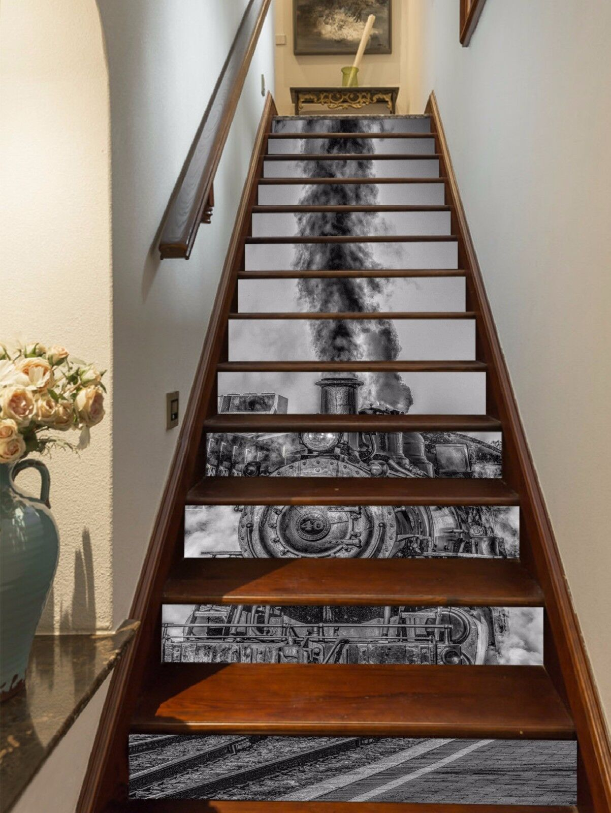 3D Old Train 3612 Stairs Risers Decoration Photo Mural Vinyl Decal Wallpaper US
