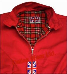 Harrington Jacket New Mens Made In England Tartan Lined Red XS S M L XL XXL