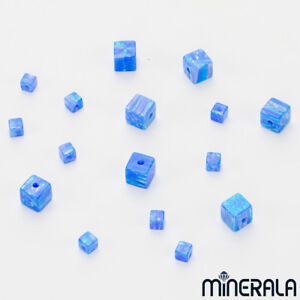 WHOLESALE-SYNTHETIC-LAB-CREATED-OPAL-FIRE-BLUE-CUBE-BEADS-VARIOUS-SIZES