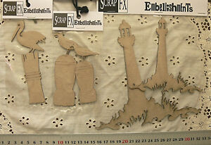 CHIPBOARD-DieCut-LIGHTHOUSES-PELICAN-amp-SEAGULL-on-BOLARD-4Style-Choice-ScrapFX-L