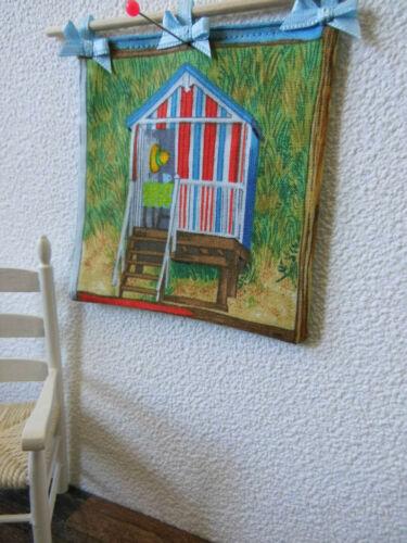 """textile Wanddeko WANDBEHANG/""""1:12 Puppenstube,/""""Miet/""""-Strandhaus"""