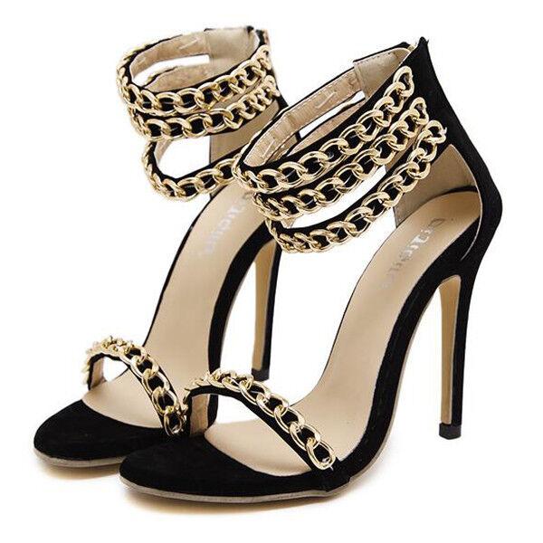 Sandali eleganti tacco stiletto 11 cm noir or pelle sintetica eleganti 9831