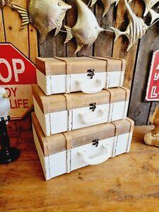 Edler Koffer 39/35/31cm HOLZ Shabby Truhe Deko Tisch Regal Reise Box Kiste