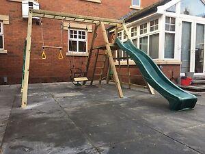 Climbing Frame Monkey Bars Wooden Swing Set Slide Pressure Treated