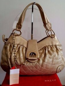 AUTHENTIC-BALLY-LEATHER-LARGE-039-MOREEN-T-039-BAG-IN-METALLIC-LIGHT-GOLD-RRP-2110-AU