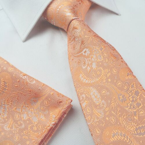 Mens Tie Silk Classic Paisley Wedding Necktie Set Hanky Green Cream Brown Blue