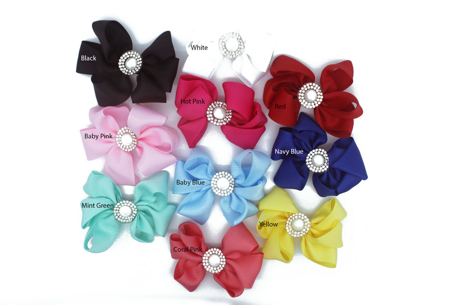 Big Bow Hair Clip Pin Pearl Aligator Clips Grosgrain Ribbon Bow Flower Girl Baby