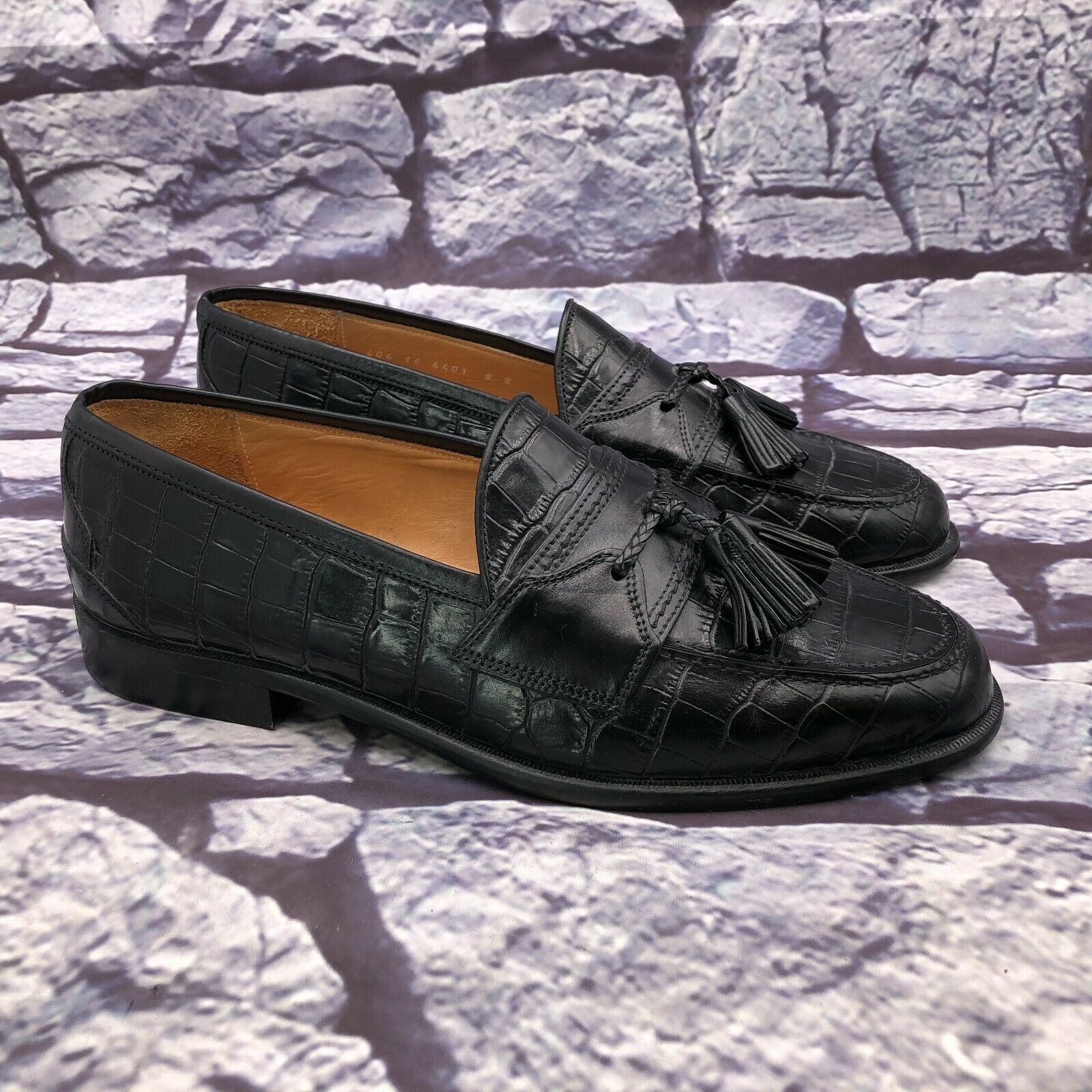 Johnston Murphy Itlay Cellini Men Black Leather Croc Embossed Loafers Sz 8 Wide