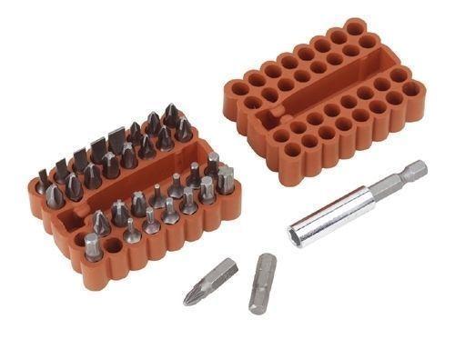Screwdriver Power Tool Bit Set With Magentic Bit Holder 33 Piece in Storage Case