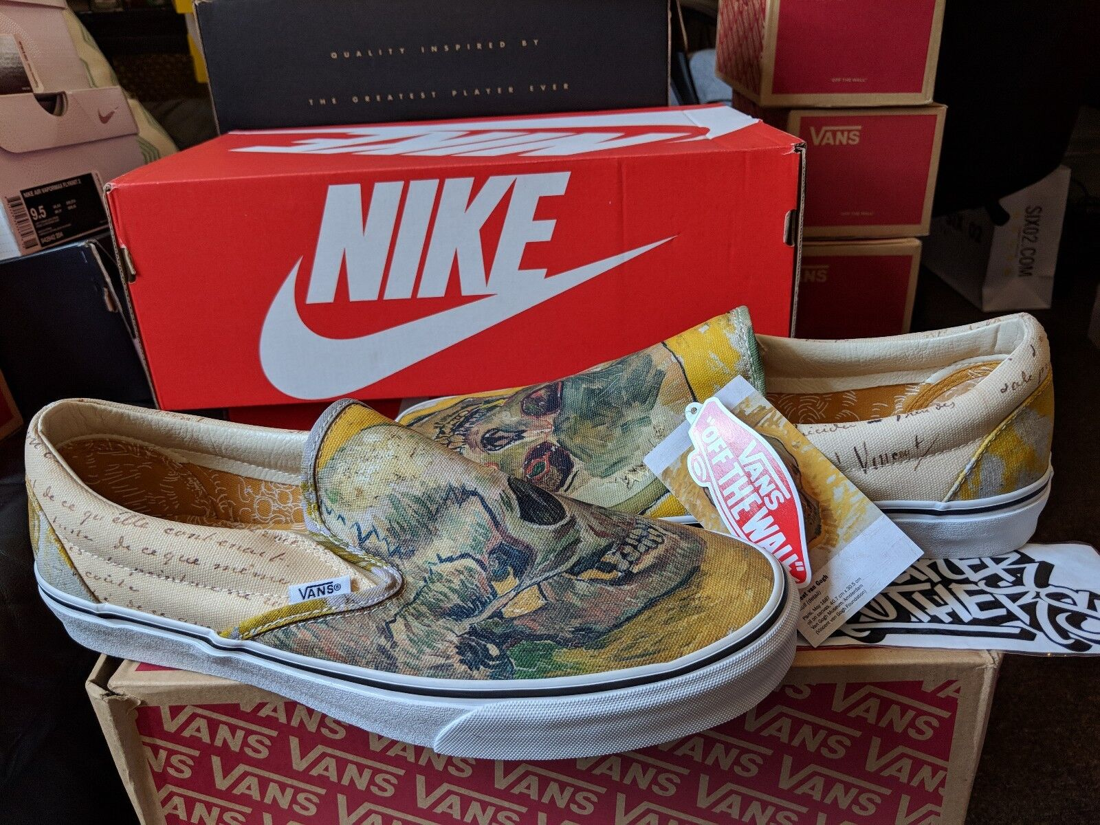 Vans Classic Slip-On Vincent Van Gogh Skull White VN0A38F7U48 Off The Wall