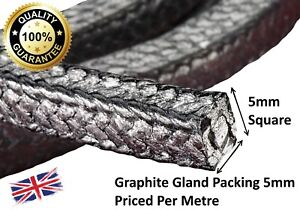 Gland packing rope//braided 5mm Square x 1m long graphite
