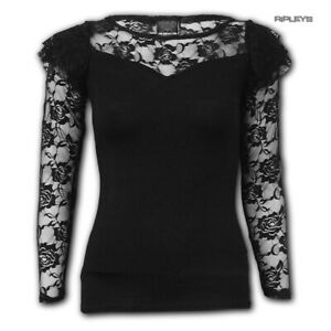Spiral-Direct-Gothic-Elegance-Ladies-Plain-Black-L-SLEEVE-LACE-2-All-Sizes