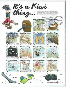 """NEW ZEALAND 2016 """"IT'S A KIWI THING"""" IMPERFORATE SHEETLET OF 14 FINE USED"""