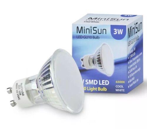 2 X MiniSun 3W GU10 Bulb Spot Light Cool Day Light 6500k LED Long life