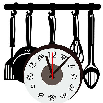 Home Decoration DIY Creative Wall Clock Decal Stickers Kitchen Ware Removable