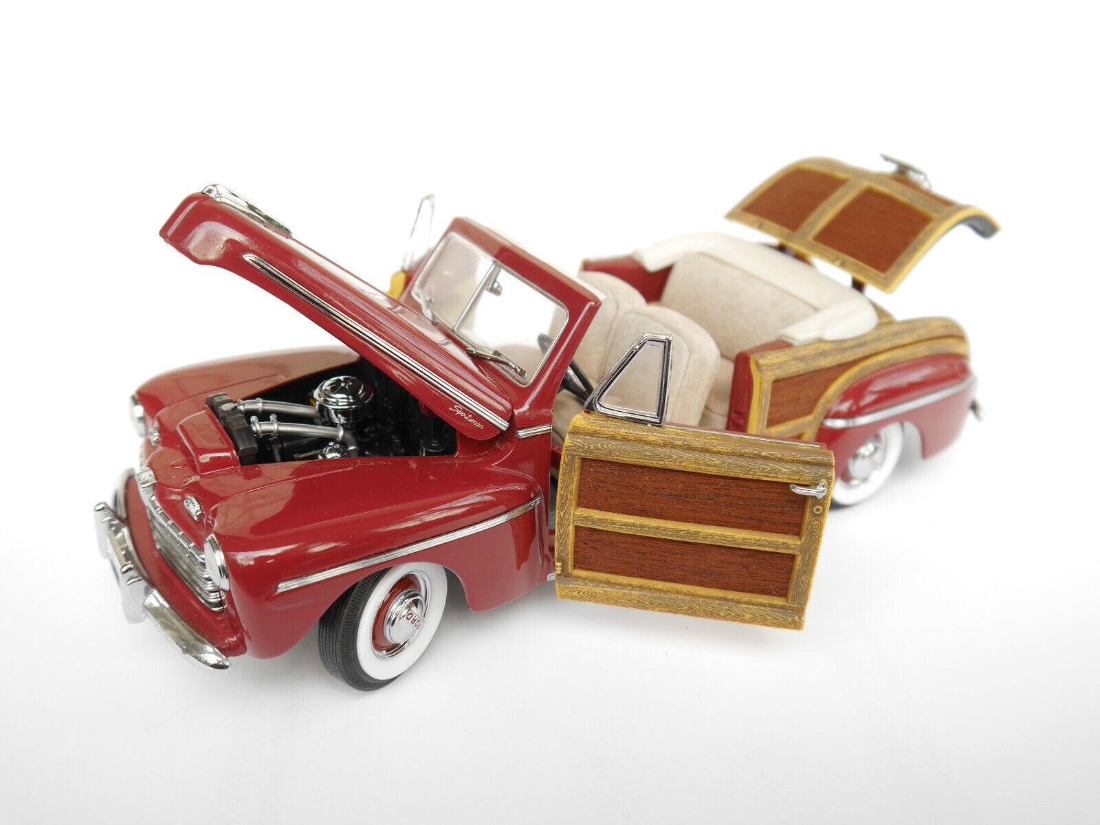 Woody 1946 FORD SPORTSuomo CONverdeIBLE Cabriolet Cabrio Rosso rosso Signature in 1 18