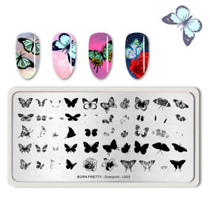 BORN PRETTY Nagel Stempel Schablone Rectangle Butterfly Pattern Overprint-L003