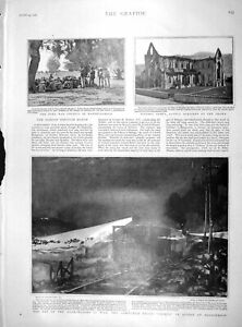 Original-Old-Antique-Print-1901-Boer-War-Watervalhoek-Train-Ubique-Brugspruit