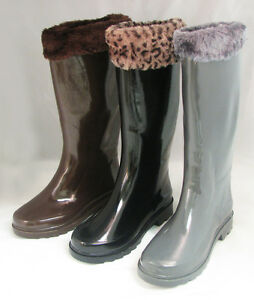 Women's Rain Boots Snow Winter Faux Fur Top Wellies Mid Calf ...