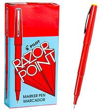 Pilot Razor Point Pens 11007 Red 03mm Extra Fine Plastic Point Pen 1 Dozen
