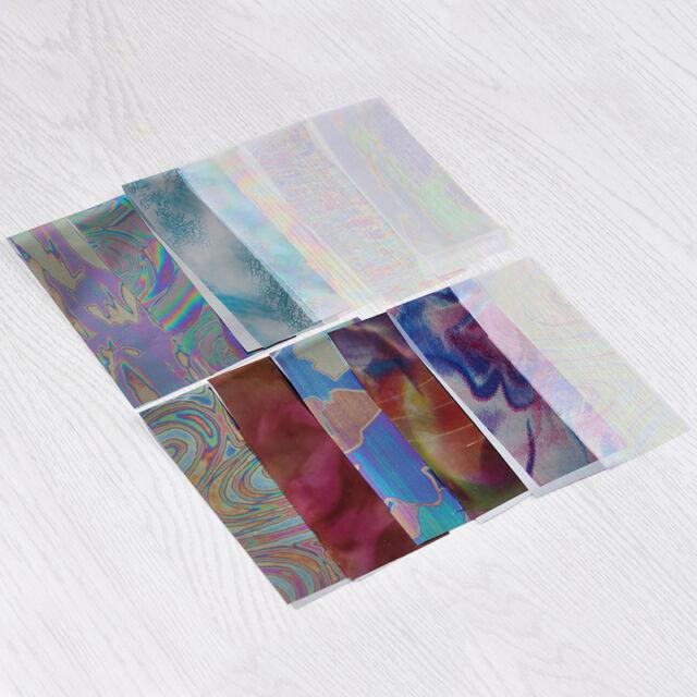 12 Farben/Packung Nagel Kunst Sternhimmel Folie Nail Foil Farbig Sticker 4*16cm