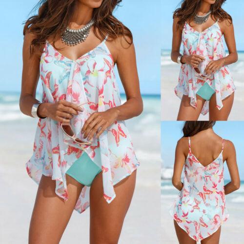 3PCS Womens Tankini Sets Sling Bikini Top Bra Bottom Mesh Floral Swimwear Set