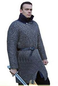 MEDIEVAL-BUTTED-CHAINMAIL-SHIRT-MEDIUM-SIZE-FULL-SLEEVE-HUBERGION-SHIRT