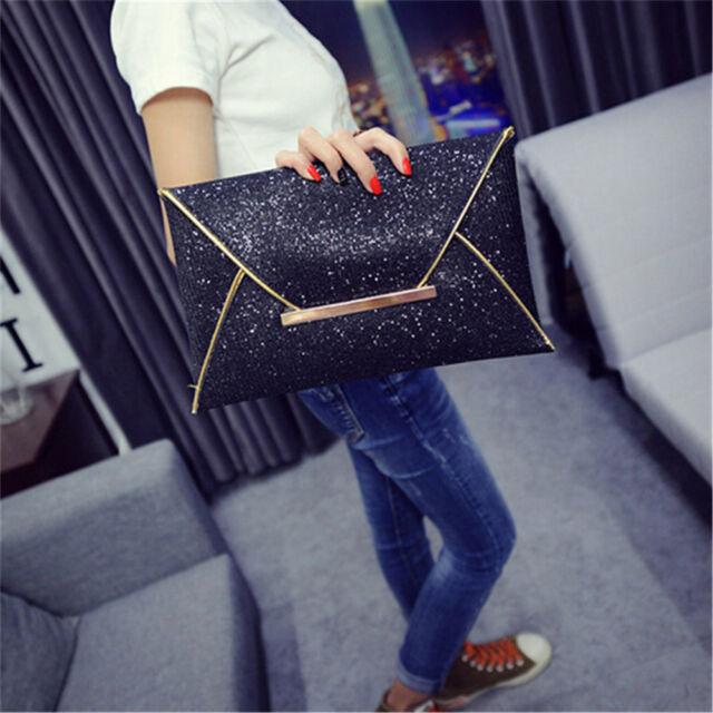 Women Glitter Sequins Handbag Party Evening Envelope Clutch Bag Wallet Purse A