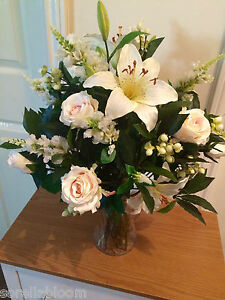 eBay & Details about LARGE FAUX FLOWERS ARRANGEMENT BLUSH ROSES LILIES BAY FOLIAGE IN VASE WITH WATER