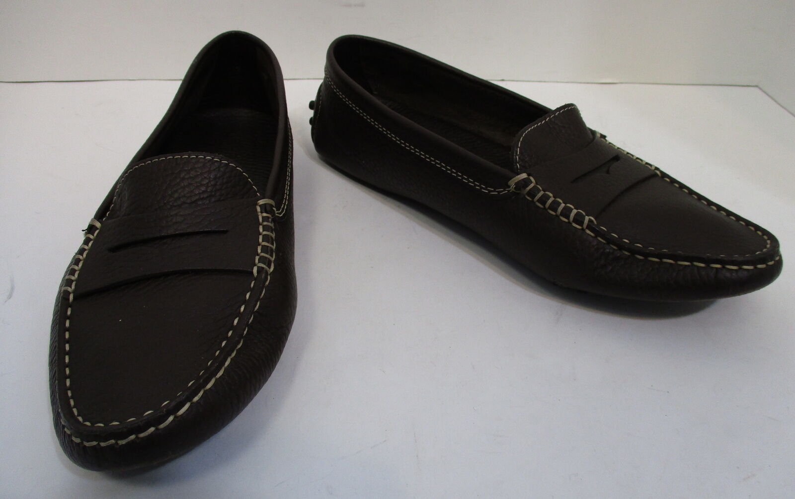 TOD'S Braun pebbled Leder driving penny loafers loafers loafers sz 7 c9294b