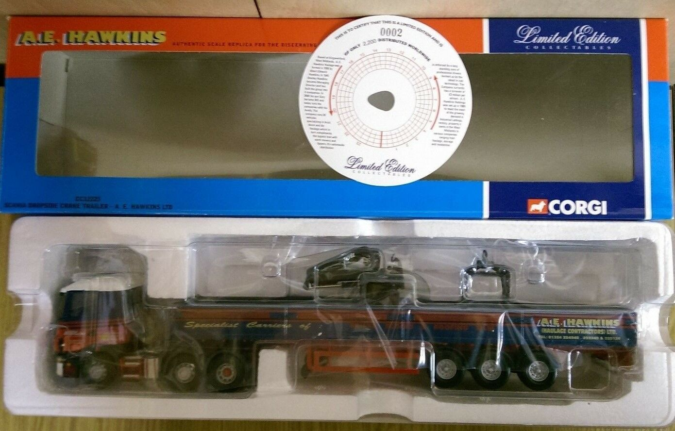 Corgi CC12223 Scania Dropside Crane Trailer A E Hawkins Ltd Ed. No. 0002 of 2200