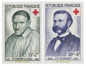 EBS-France-1958-Red-Cross-Vincent-de-Paul-Henri-Dunant-YT-1187-1188-MNH