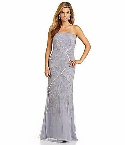 318 Adrianna Papell Grey bluee Beaded Sequin Strapless Sheath Gown 10 NWT A834