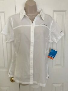 NEW-Columbia-Women-s-Meadowgate-Omni-Shade-Vent-Short-Sleeve-Shirt-WHITE