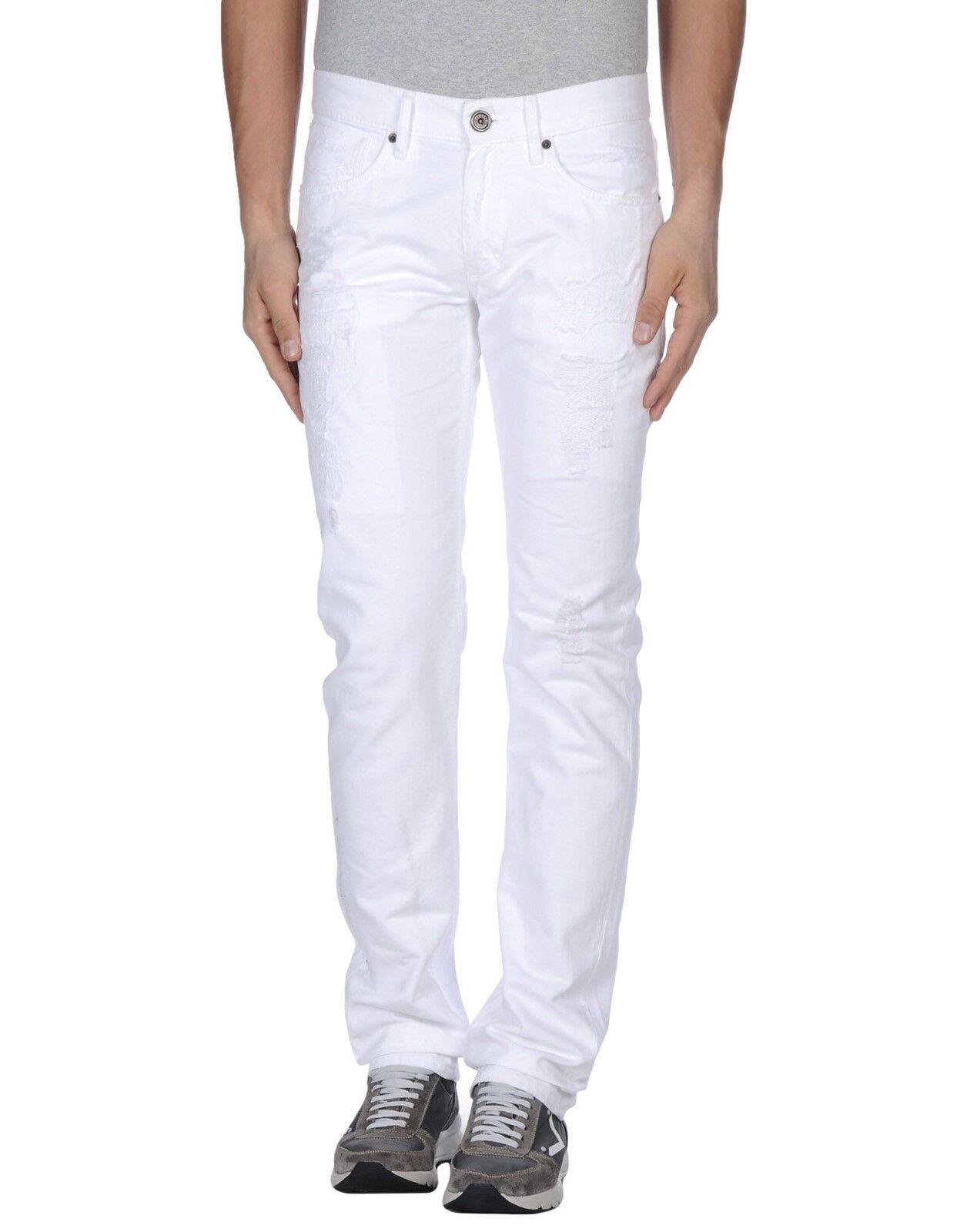Bikkembergs Weiß Distress Detail Denim Trousers Jeans - W32 L32
